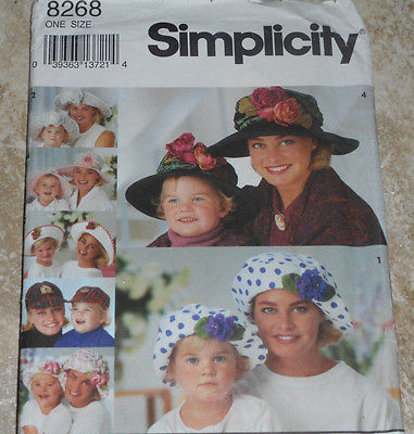 SIMPLICITY 8268 Mother & Daughter Hats SEWING PATTERN ONE SIZE UNCUT