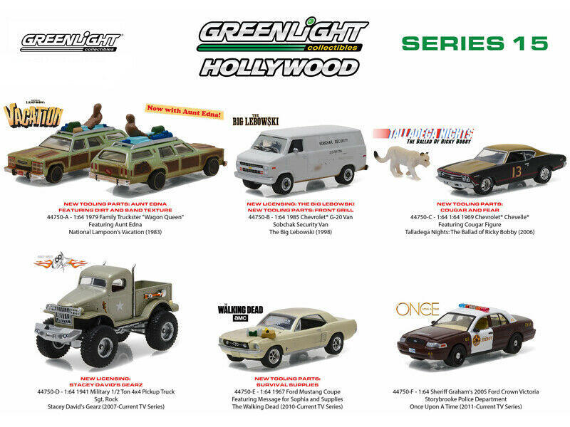 Greenlight Hollywood Series 6 piece Diecast Car Set 1/64
