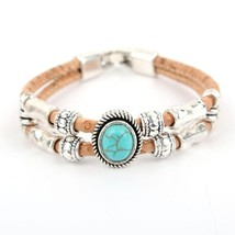 Cork Charm Bracelet with Turquoise Stone Handmade Wooden Jewelry Women B... - $18.00