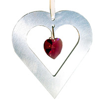 Aluminum and Crystal Heart Ornament  18mm image 3