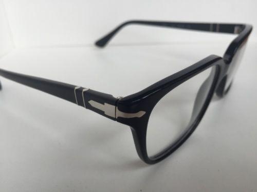 New Persol 3094-V 9014 Black 53mm Rectangular Eyeglasses Frame Hand Made Italy