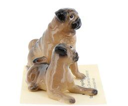Hagen Renaker Dogs Pug Mama and Baby Tan Ceramic Figurine image 8