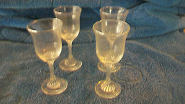 SET OF FOUR VINTAGE CORDIAL GLASSES WITH SPIRAL STEMS - $44.54