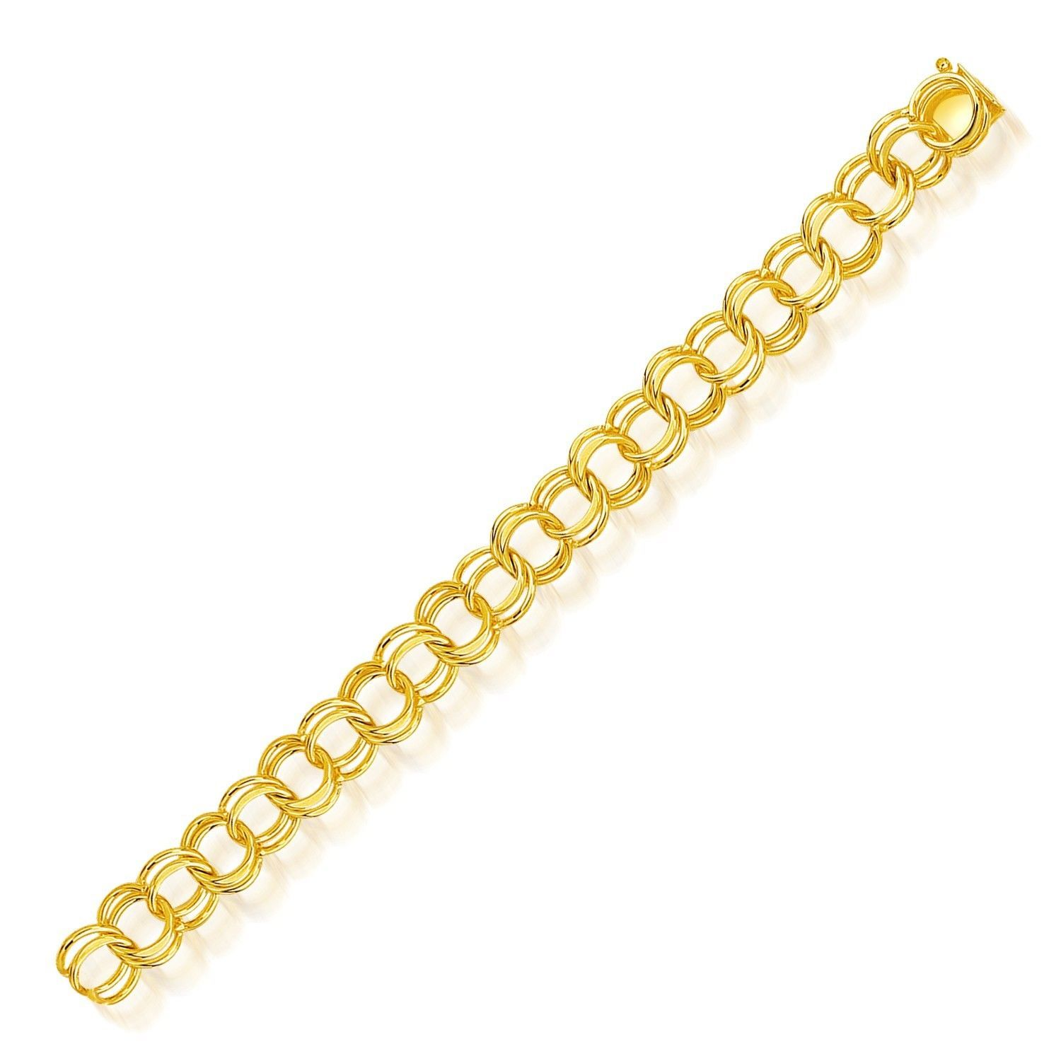 14k Yellow Gold Solid Double Link Charm Bracelet 10.0mm
