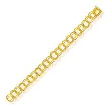 14k Yellow Gold Solid Double Link Charm Bracelet 10.0mm - $1,448.07+