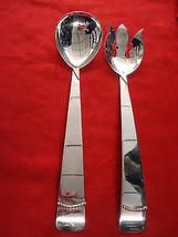 """Large Vintage Silverplate 12"""" Salad Set with Modernistic Design 8518 - $35.00"""