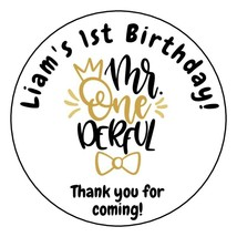 12 Personalized Mr Onederful Birthday Party Stickers Favors Labels tags ... - $8.99