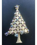 Vintage Mylu Signed Goldtone Christmas Tree w Aurora Borealis Rhinestone... - $29.77