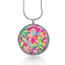 Swan necklace - lilly pulitzer inspired fabric - pink swans, beach pendant, swan - $18.32