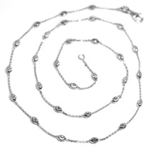 """18K WHITE GOLD ROLO ALTERNATE CHAIN NECKLACE 3mm FACETED OVAL BALLS 16"""" image 1"""