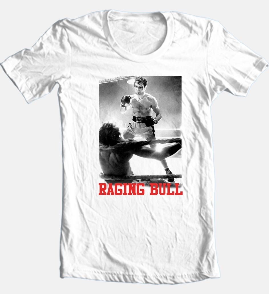 Raging bull white t shirt retro classic boxing movie buy shop graphic tee online