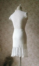 Ivory White Fitted Lace Midi Length Skirt High Low Mermaid Skirt Plus Size  image 4