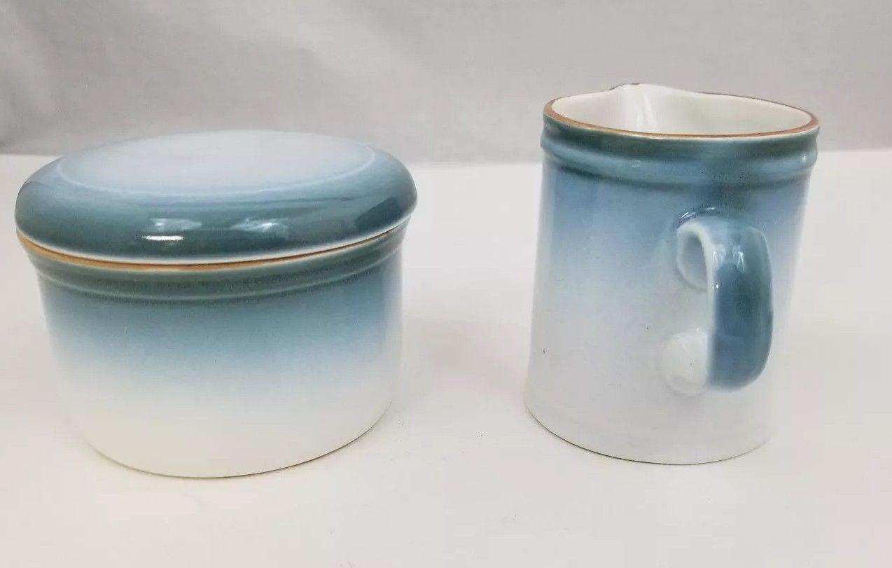 Nikko Gradiance Creamer and Sugar Bowl Azure Leafette Dishwasher Microwave Safe image 5