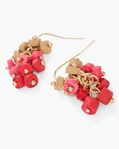 NWT CHICO'S RED PINK BROWN FIONA CLUSTER EARRINGS - SOLD OUT - RARE!  - $9.79