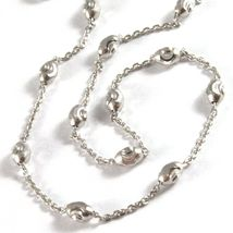 """18K WHITE GOLD ROLO ALTERNATE CHAIN NECKLACE 3mm FACETED OVAL BALLS 18"""" image 3"""