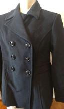 NWT Womens St Johns Bay Black Wool/Cashmere Peacoat Jacket Size Large (L) - $74.25