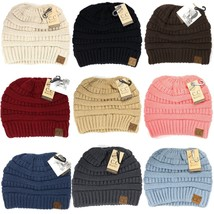 CC Beanie Tail Messy High Bun Ponytail Hat Knit Beanie Cap