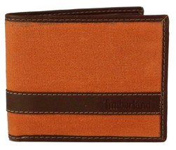 Timberland Men's Hunter Leather Waxed Canvas Credit Card ID Passcase Wallet image 2
