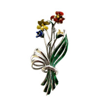 Vintage Mexican Sterling Silver & Enamel Flower Brooch Pin - $65.00