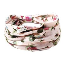 2 PCS Beautiful Pink Flower Pattern Hair Bands Western Style Head Colth image 2