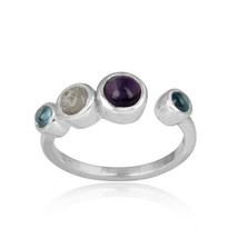925 Sterling Fine Silver Multi Color Gemstone Rings Jewelry For Women's - $19.79