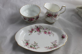Vintage Royal Albert China Cream & Sugar Tray Lavender Rose Pattern England - $40.00