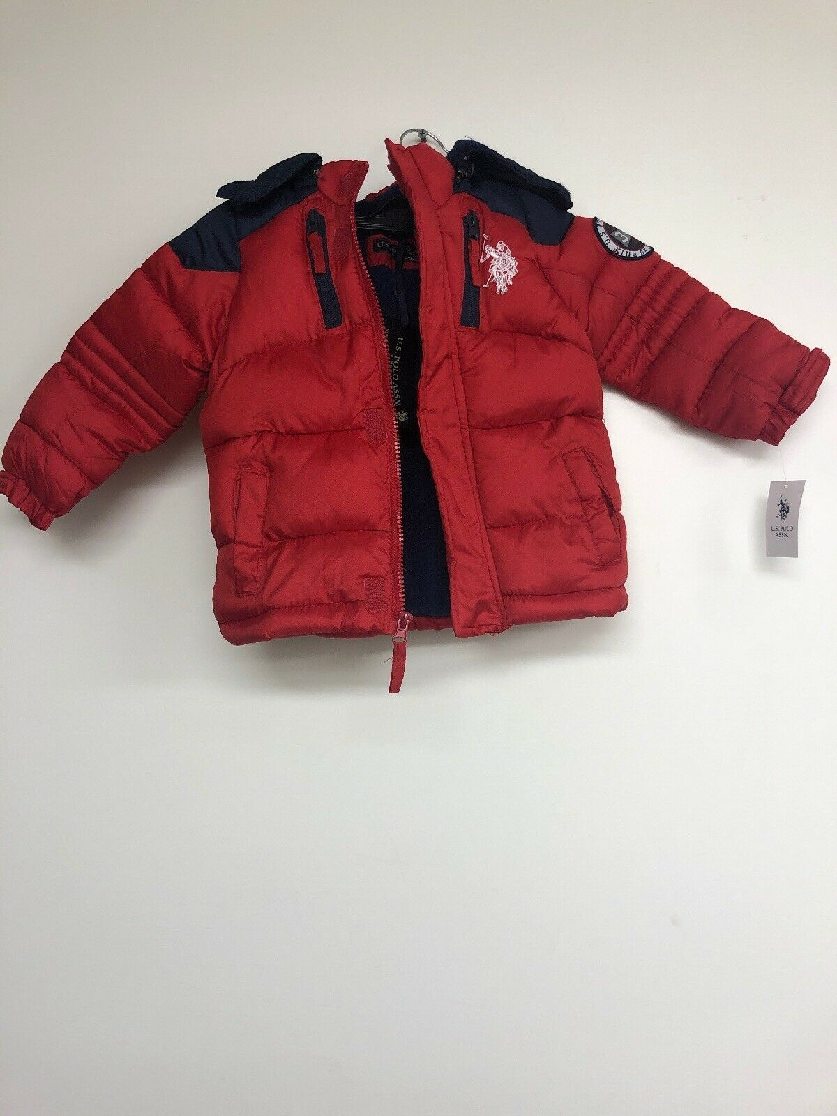 Primary image for U.S. Polo Assn. Boys Bubble Jacket, Winning Red Blue, 2T
