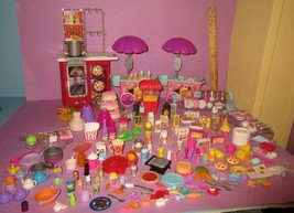 HUGE Barbie Polly Pocket Tiny Mini Food Dinnerware Pots Cake Drink Acces... - $75.00