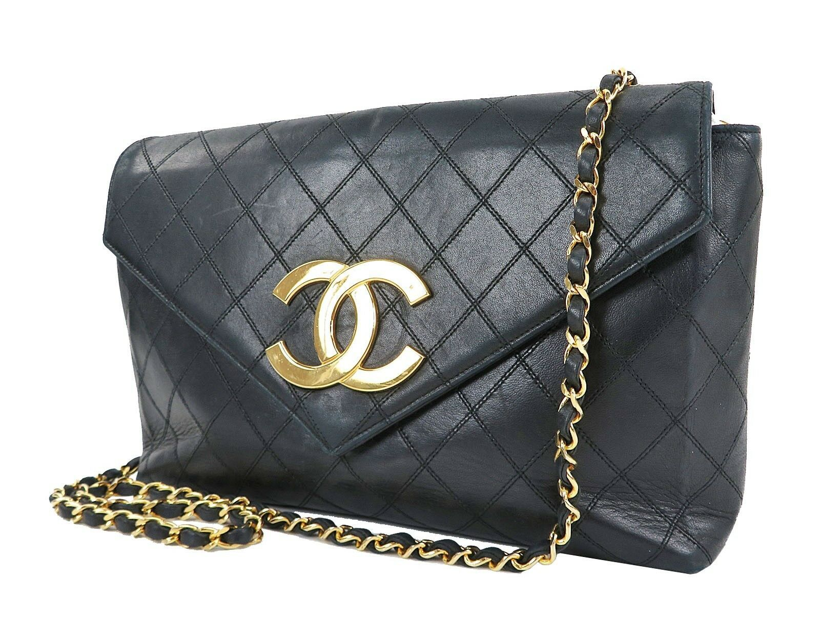 Auth CHANEL Black Quilted Lambskin Leather Chain Shoulder Flap Bag #29245A