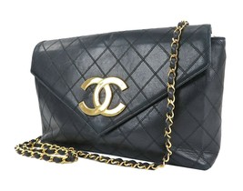 Auth CHANEL Black Quilted Lambskin Leather Chain Shoulder Flap Bag #29245A - $2,750.00