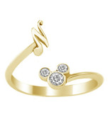 Mickey Mouse Disney Initial N Ring Round Cut Diamond 18k Gold Plated 925... - £17.40 GBP