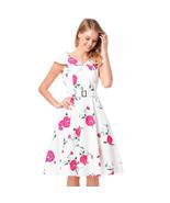AOVEI Pink Floral Print 1950s Cute Sailor Collar Pleated Swing Beach Dress - $24.99