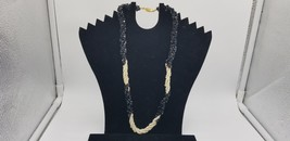 Vintage Marked GSilver Black Beads Mixed With Real Freshwater Pearls & G... - $29.02