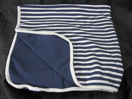 Gymboree 2010 Baby Boy Blanket Navy Blue Gray Daddys Daddy Mvp Football Stripe - $26.92