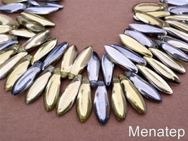 25 5 x 16mm Czech Glass Dagger Beads: Yellow Gold/Silver - $3.68