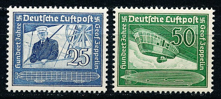 1938 Ferdinand Zeppelin Set of 2 Germany Airmail Stamps Catalog C59-60 MNH