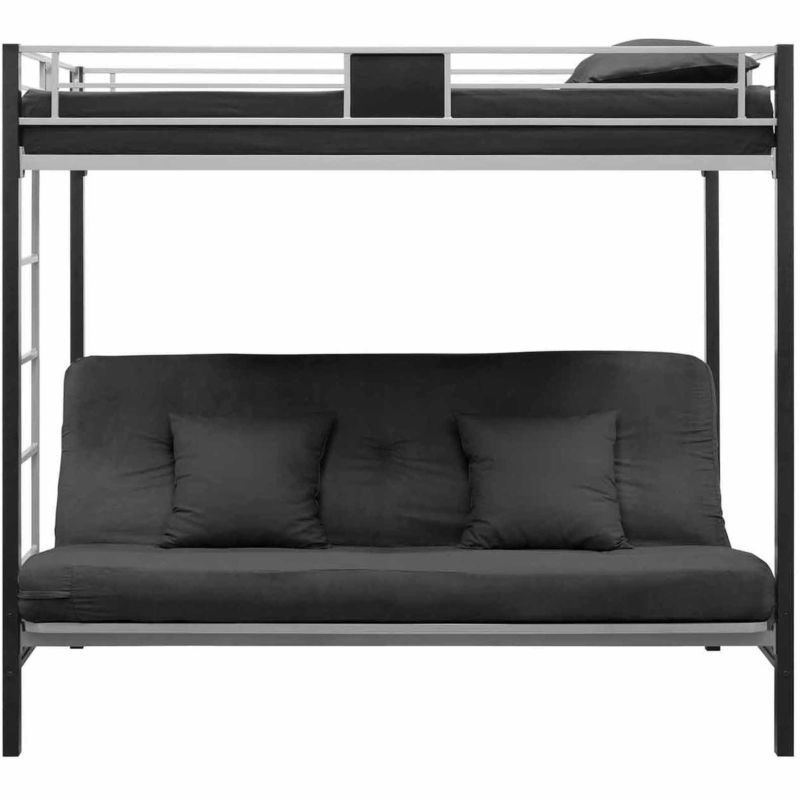 Bedroom Sofa Bed For Sale: Twin Bunk Beds Over Sofa Bed Futon Black Metal Frame