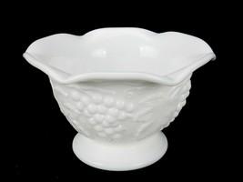 Imperial White Milk Glass Candy/Nut Dish, Grape Vine Pattern, Logo Marked - $12.69