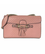 NEW/AUTH GUCCI 449635 Emily Medium Microguccissima Leather Shoulder Bag, Pink - $1,250.00