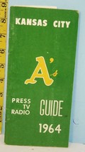 1964 Kansas City A's Athletics Baseball Press TV Media Guide Plus Extras - $48.51