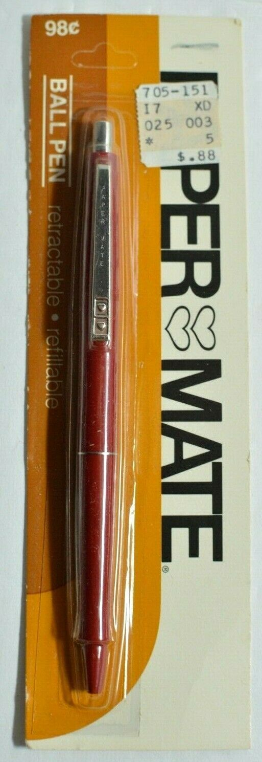 2 Vintage Paper Mate Double Heart Ball Point Pens Refillable Sealed NOS 1970s