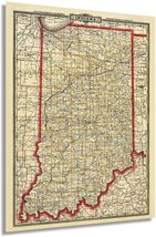 1888 Indiana State Map - Vintage Map of Indiana Wall Art - Vintage Indiana Map P - $34.99+