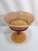 "Fenton SCROLL & EYE Cameo 5"" Tall Comport Jelly Candy Honey Amber Opalescent VFC - $24.00"