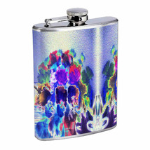Neon Infrared Flowers Em1 Flask 8oz Stainless Steel Hip Drinking Whiskey - $13.81