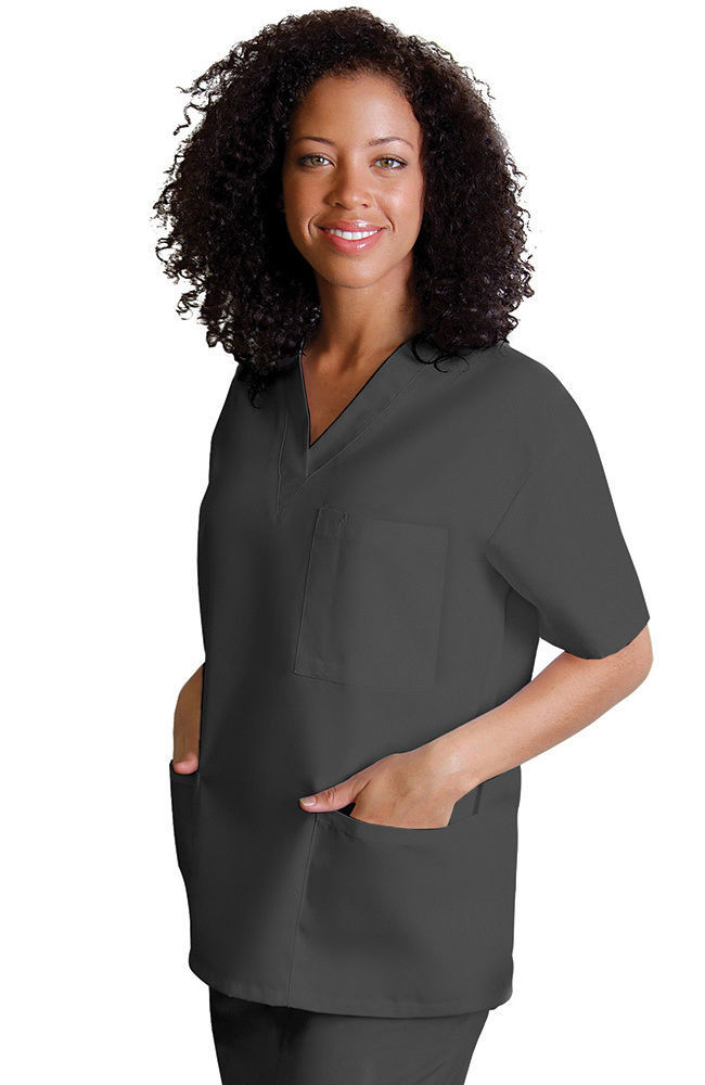 Primary image for V Neck 3 Pocket Scrub Medium Top Adar Uniform Pewter Solid Nurses 601 Unisex New