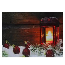Northlight LED Candle Lantern in the Wintry Outdoors Christmas Canvas Wa... - $14.84