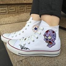 Men Women Sneakers Chuck Taylor Converse Original Design Zombie Skull Shoes - $119.00