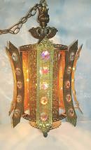 Vintage 1970s Dazzling Mediterranean Huge Crystal & Brass Filigree Swag ... - $279.57