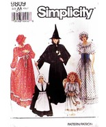 1990 Misses' COSTUMES (Angel, Witch, Pilrim, Prairie) Pattern 9809-s Sizes 6-16 - $8.00