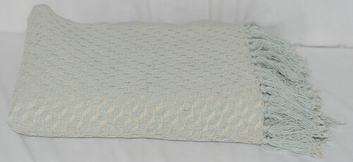 Split P Brand 85180 Light Blue White Sea Twill Weave Tasseled Throw Blanket